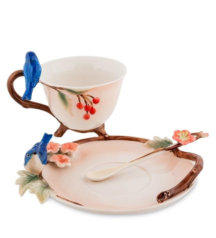 Чайная пара Pavone FM-80/ 2 Голубые птицы