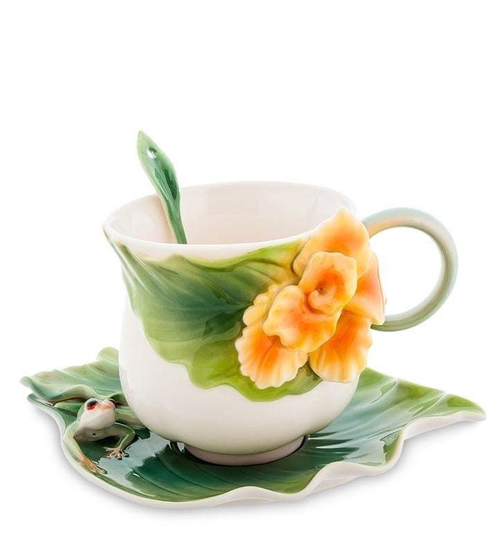 Чайная пара Pavone FM-82/ 2 Лягушки и цветы канны